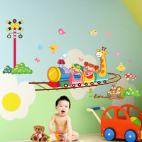 Wall stickers cartoon train lighthouse ofhead child real marouflage