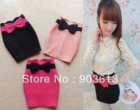 Free shipping new women's autumn and winter sweet big bow slim OL wool skirts 3 colors S-L