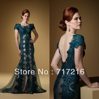 New arrival scoop neck organza handmade beaded applique green party gown mermaid lpng evening dresses