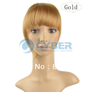 Cheap New Fashion Lady Women Clip In on Front Hair Neat Bangs Fringe Hair Piece Extensions Golden 10000
