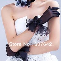 Black Bridal Glove Wedding Gloves Edge bowknot fingers Wedding Satin Lace Beads Bridal Gloves Free Shipping  Sky-G082
