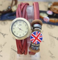 Wholesale Genuine Leather UK Flag Fashion Women Quartz Watch Ladies Men  kow050