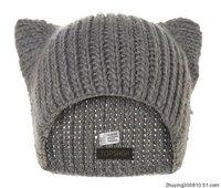 hot sale Topshop handmade pure wool line cat ears hat women's devil horn thermal knitted hat  wholesale woolen cap lady