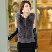 Fox Fur Collar Rabbit Fur Vest Women Fur Waistcoat Genuine Fur and Leather Patchwork 2013 Autumn and Winter M-XXXL Free Shipping