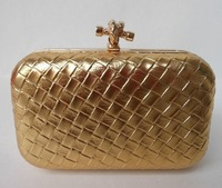 2013 New design woven  evening bags and clutches ,gold party bags/bridal handbag/ clutch bags chain  free shipping   XP110