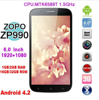 ZOPO ZP990 2GB RAM 32GB ROM 6.0 inch 1920*1080px 1080P MTK6589T 1.5Ghz Quad Core Android 4.2 Smartphone13.0MP GPS Mobile phone