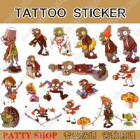 Waterproof tattoo stickers plants vs . zoombies child stickers bk068