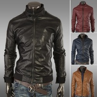 Hot men standing collar leather jacket New solid color large size leather motorcycle 123032