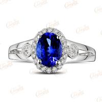 1.58ct Natural Violet Blue Tanzanite Gem Full Cut Diamond Ring 14k Gold Gorgeous