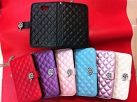 2013 Brand New Durable Luxury leather flip pouch wallet cover case for Samsung Galaxy Note N7000 i9220 , 7 Colors Mix Order