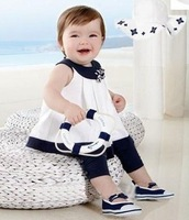 free shipping 2013 Baby Girls' suits1pc sets Marine little princess sailor sun dress + legging Girls clothing set
