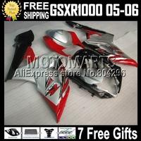 7gifts For SUZUKI K5 GSXR 1000 05-06 GSXR1000 red silver black K5 05 06 2005 2006 GSX-R1000 silvery GSX R1000 542 Q41 Fairing