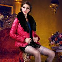 Winter 2013 female fox fur large fur collar short down design coat fashion slim high quality outerwear
