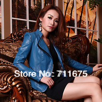 1pcs  Free shipping 093 PU female clothing women's jacket gold zipper fashion stand collar slim short design leather clothing