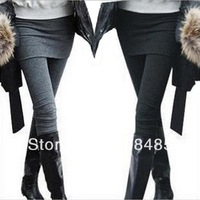 Grey Black False Two-piece Legging Pantskirt Women's Fashion Leggings With Mini Skirts Slim Fit Thin Style