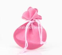 "Free Shipping! 20PCs Pink Velvet Drawstring Pouches Jewelry Gift Bag 9x7.3cm(3 4/8""x2 7/8"") (B20287)"