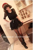 2013 Women New Free Shipping Double Hollow Out Lace Vest Style Dress Black  WT11032118-1