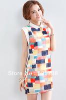 new 2013 autumn -summer grid Contrast color chiffon Women dress casual dress