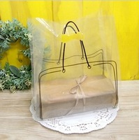 100pcs/lot 25*35cm Transparent Plastic Bag Clear PVC Packaging Shopping Bags With Handle For Clothes Shoes