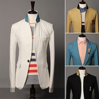 Hot men's suits Color fashion models sale jacket stand collar blazer for Men 135063