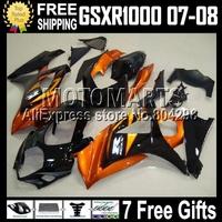 100% Q42 For SUZUKI K7 GSX R1000 07 08 Orange black 2007 2008 GSXR 1000 K7 878 Orange GSX-R1000 GSXR1000 Fairings +7gifts