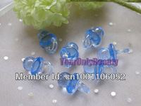 Free Shipping--100pcs Mini Acrylic Clear Blue Baby Pacifier Baby Showers Favors~Charms ~cupcake decorating
