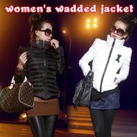 Women's plus size turtleneck short design down slim wadded jacket cotton-padded jacket thin short jacket free shipping