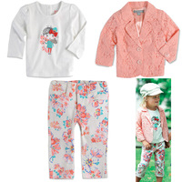 Free Shipping!2013 New Autumn The Coat,Girls Clothes,Clothing Sets (Long Sleeve Coat+Long Sleeve Shirt+Pants),5 sets/lot