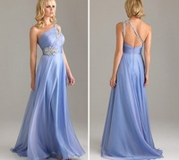 Free Shipping ! Cheap Price ! In Stock ! 2014 Hot Sale One Shoulder Blue Beading Chiffon Evening Dresses Size 6-18