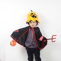 free shipping New arrival halloween child clothes horn devil cape mantissas pumpkin bucket 88sqm child set