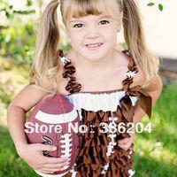 Free Shipping Satin Football Petti Romper Football/Pageant Brown White Football Season Girl Satin Romper(S,M,L Size)