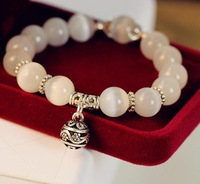 Birthday of B&Y Shop Natural crystal bracelet  delicate ball vintage national bracelet white cat-eye gem female tibetan silver