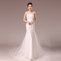 F 2014 bride wedding dress halter-neck wedding dress rhinestone fish tail wedding dress short trailing wedding dress