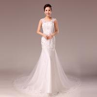 F 2014 bride wedding dress halter-neck wedding dress rhinestone fish tail wedding dress short trailing wedding dress
