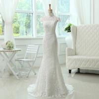 F 2014 clothing vintage stand collar cutout bag slim fish tail bandage royal wedding dress