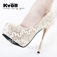 2013 tiangao kvoll lace banquet wedding shoes round toe low ultra high heels shoes