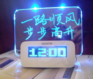 Free shipping Gift creative projection clock luminous alarm clock birthday gift novelty diy gadgetries toy(China (Mainland))