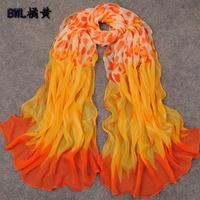 2014 georgette silk scarf chiffon silk scarf plus size long design scarf summer sun scarf
