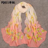 Spring and summer gradient color faux silk women's scarf female silk scarf women's chiffon silk scarf beach towel