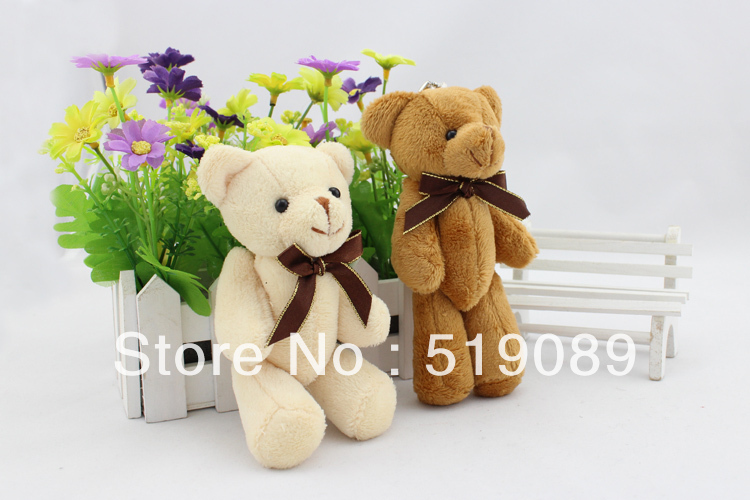 Wholesale 15cm Tie Teddy Bear Plush Pendant 60pcs/lot Teddy Bear Toys For Keychain/Bouquet material/Promotional Gifts(China (Mainland))