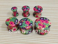 Wholesale Fashion high quality body piercing jewelry flower printed ear plug ear tunnel hot sale