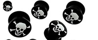 plug flesh tunnel totenkop skull logo body piercing jewelry barbell bar fake stretcher hot selling gay suit fake free shipping