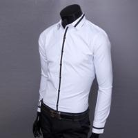 Free Shipping New Arrive 2014  elegant chaldean knitted color block shirt slim casual men long-sleeve shirt man