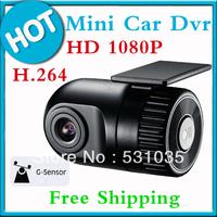 Free Shipping!!Car Electronics 1080P D168 HD Smallest Car Camera 12V Car DVR Cam recorder G-sensor Black Box