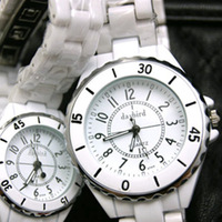 Male women's lovers white ceramic watch fashion table beautiful waterproof with diamond