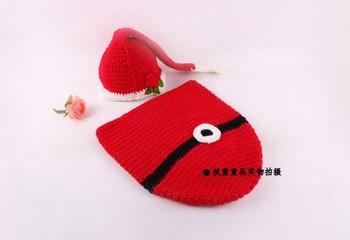 Hot sale!Baby Girls Boys Crochet Chrismas Red Santa Clause Stocking hat Baby Hat winnter warm christmas