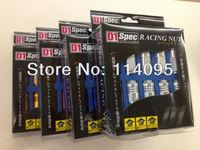 Free Shipping ! D1  Racing 7075 Aluminum M12x1.25 Wheel rim lug nut open end Blue/ Red