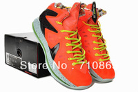 Free shipping LeBron 10 Elite Total Crimson orange Men basketball shoes,size41-46