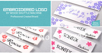 Customized Garment Labels, Woven Labels,1000pcs/lot, Embroidered Logo, Glossy Ribbon Material, Free Sample Before Produce