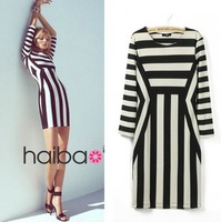 promotion 2013 fashion female sexy stripe dress autumn vertical stripe one-piece dresses party